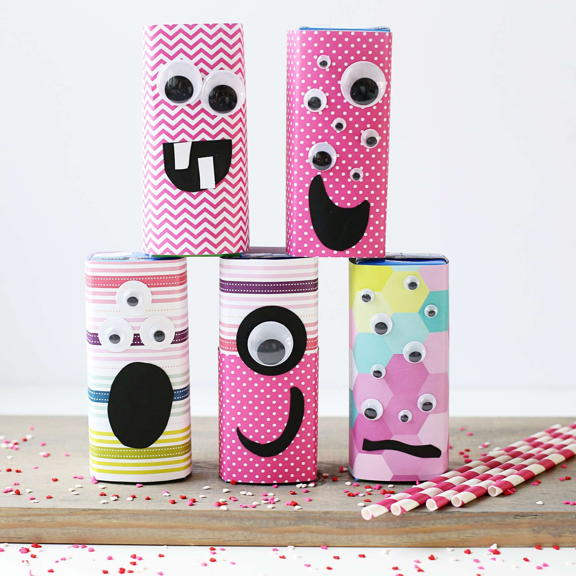 Picture of Friendly Monster Valentine Juice Box Craft
