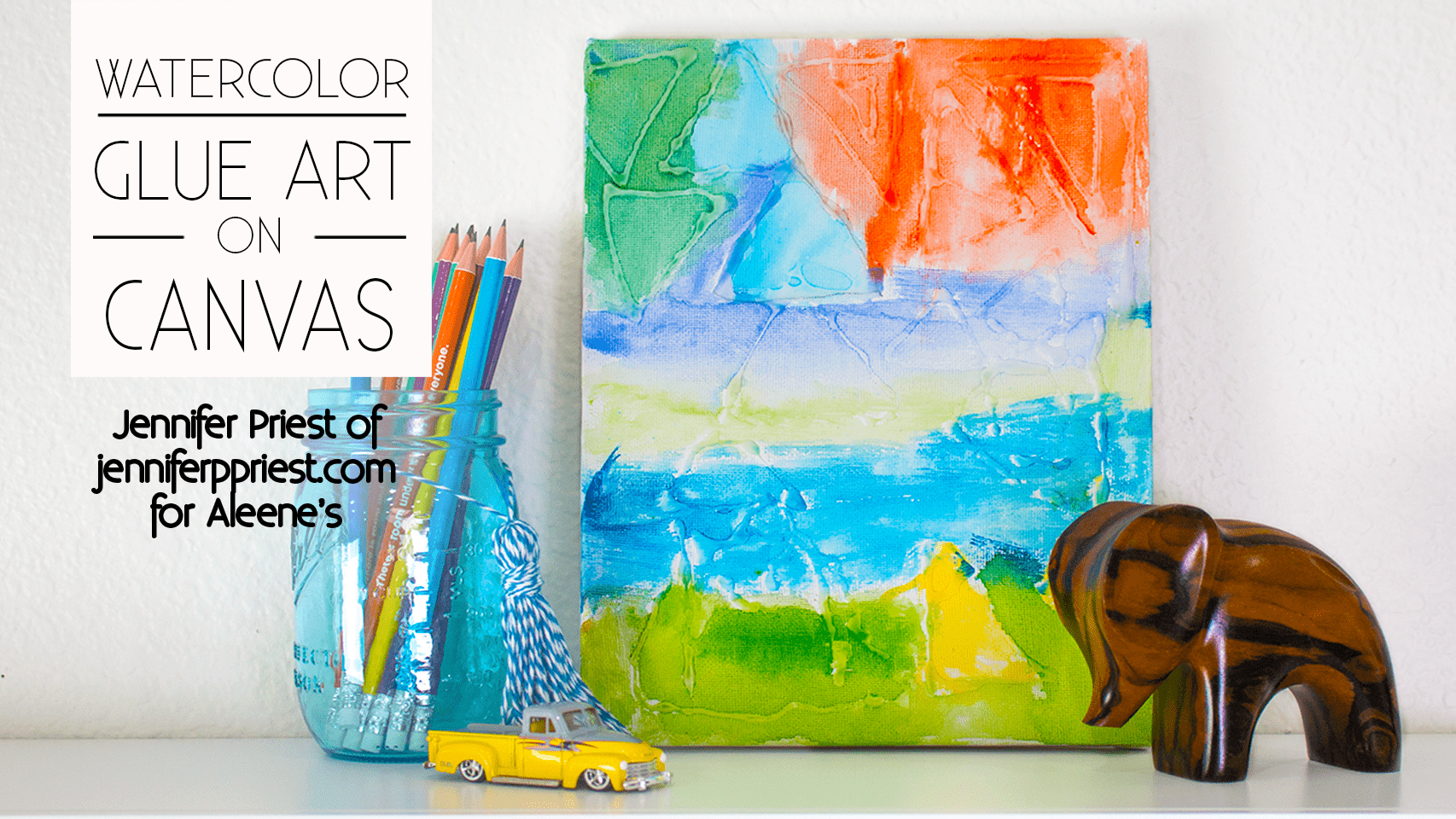 Picture of Watercolor Glue Art on Canvas