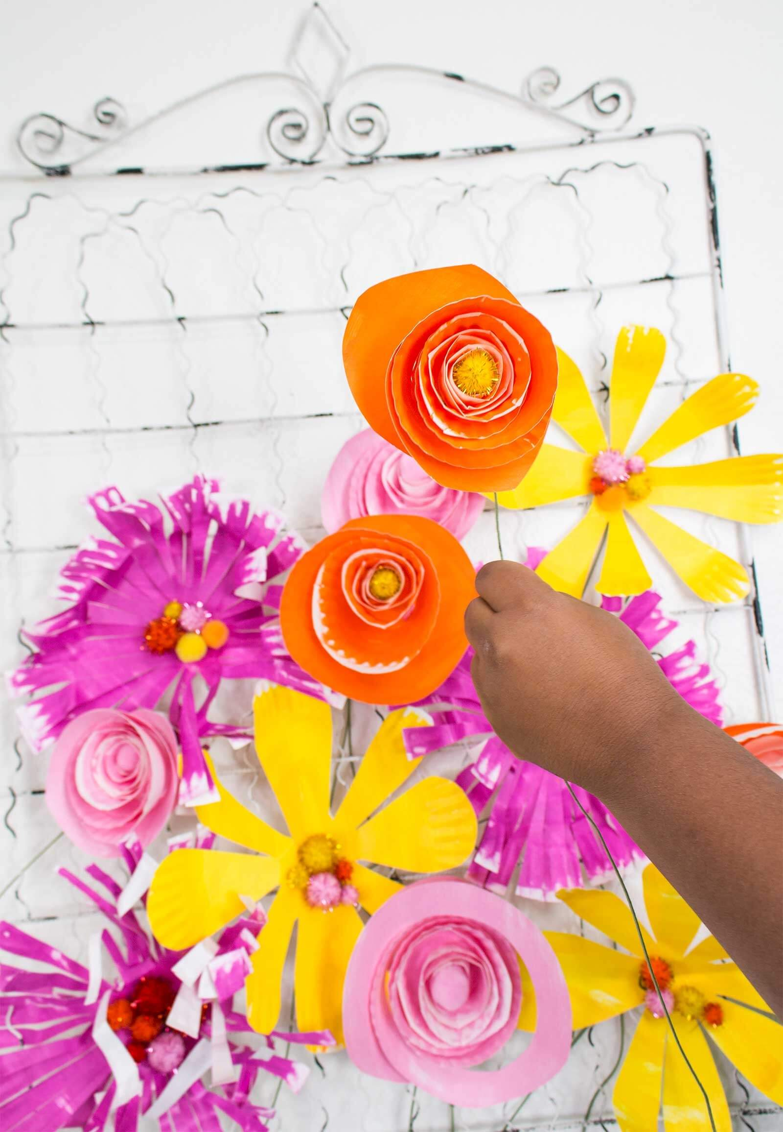Paper Plate Flowers for Kids Step 13