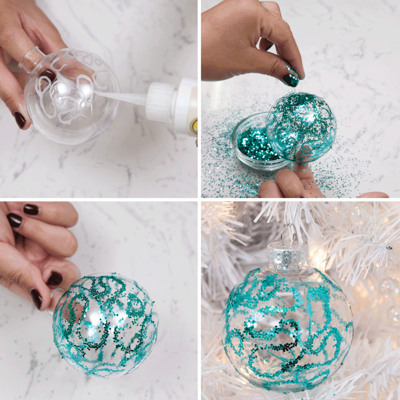 DIY Glitter Ornaments: 3 Easy Techniques Step 3
