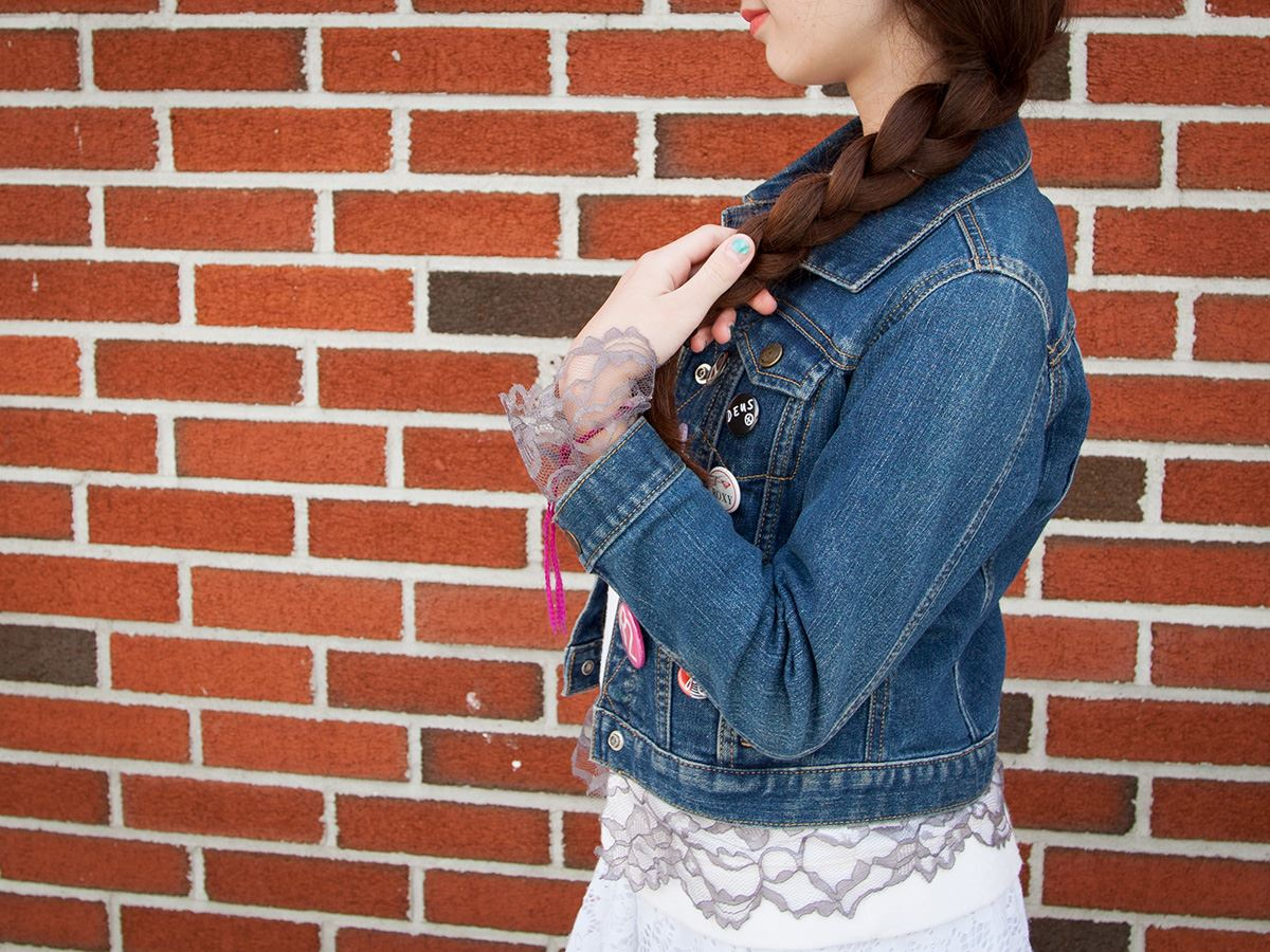 DIY Lace Trimmed Jacket Step 2