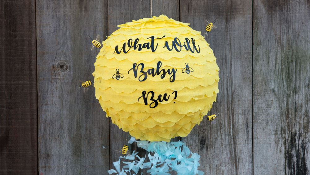 """""""What Will Baby Bee"""" Gender Reveal Pinata Step 2"""