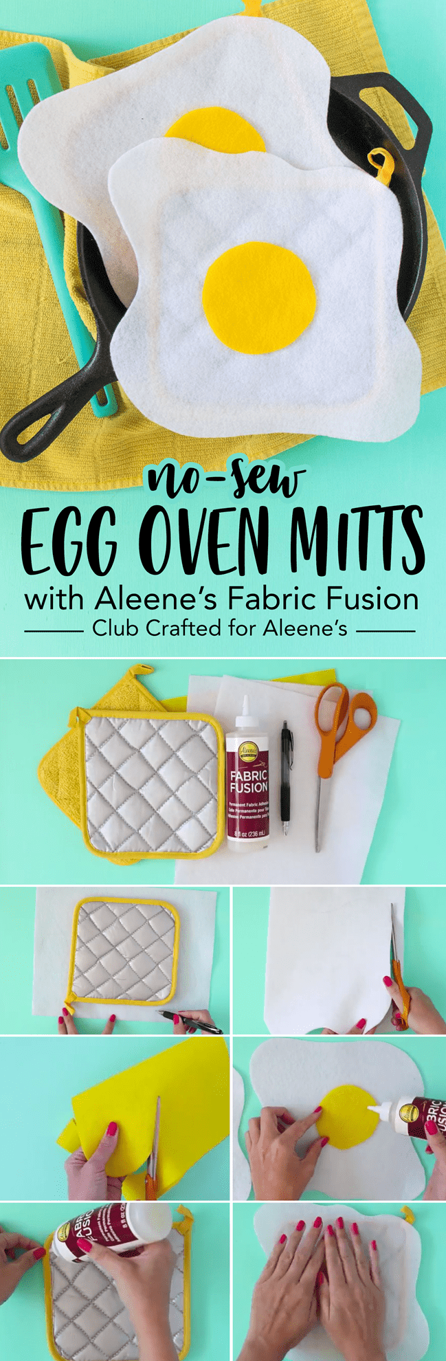 DIY No-Sew Fried Egg Mitts Step 3