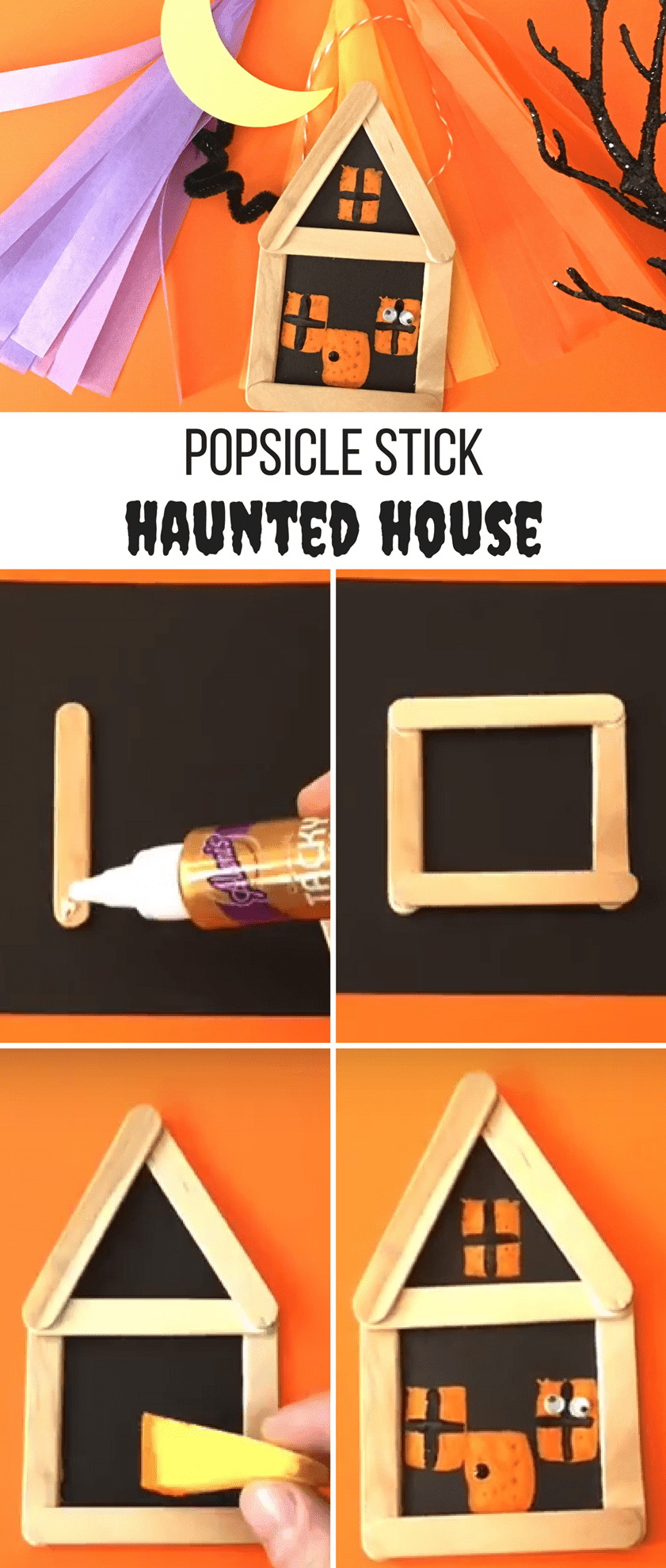 Popsicle Stick Haunted House Step 6