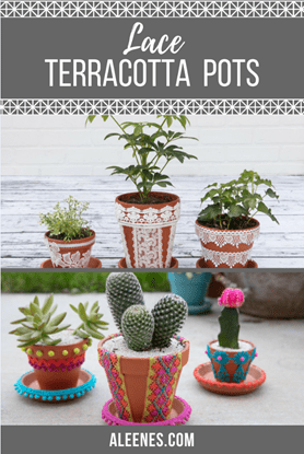 Picture of DIY Lace Terracotta Pots