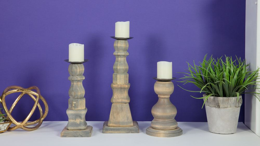 Picture of Recycled Wood Spindle Candle Holders
